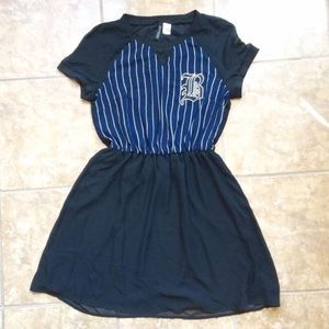 H&M chiffon striped baseball dress